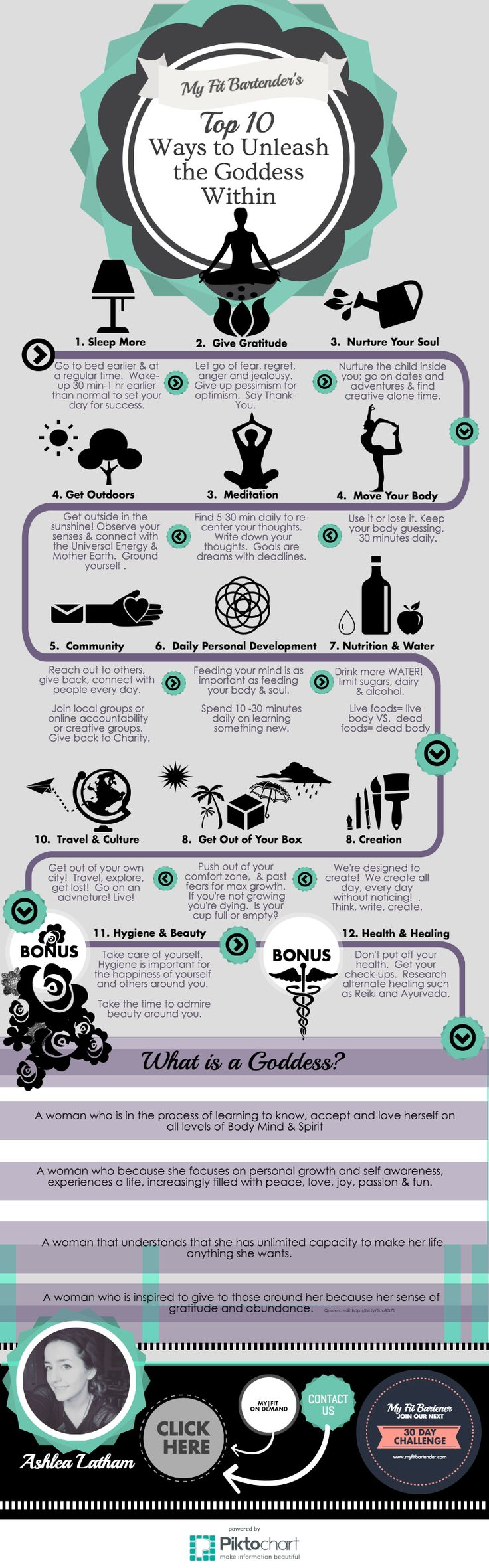 Top 10 Ways to Unleash the Goddess Within You!!     This is an informative piktograph /infographic about the Top Ten ways you can unleash your inner Goddess.  Finding your inner Goddess is all about unlocking your true potential and becoming the best version of yourself.  This infographic is meant to help women focus on the different daily activities that really do make all the difference. www.myfitbartender.com    #bohemian #goddess #hippy #mentality #awareness #yoga #infographic #picture