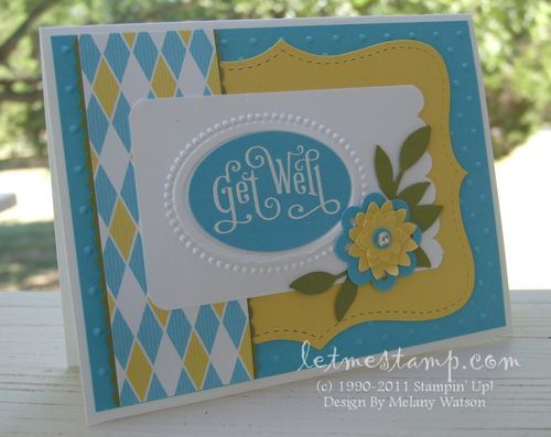 Melany Watson card. Gorgeous use of the colours and Stampin' Up! DSP. Stampin' Up! Get Well Card