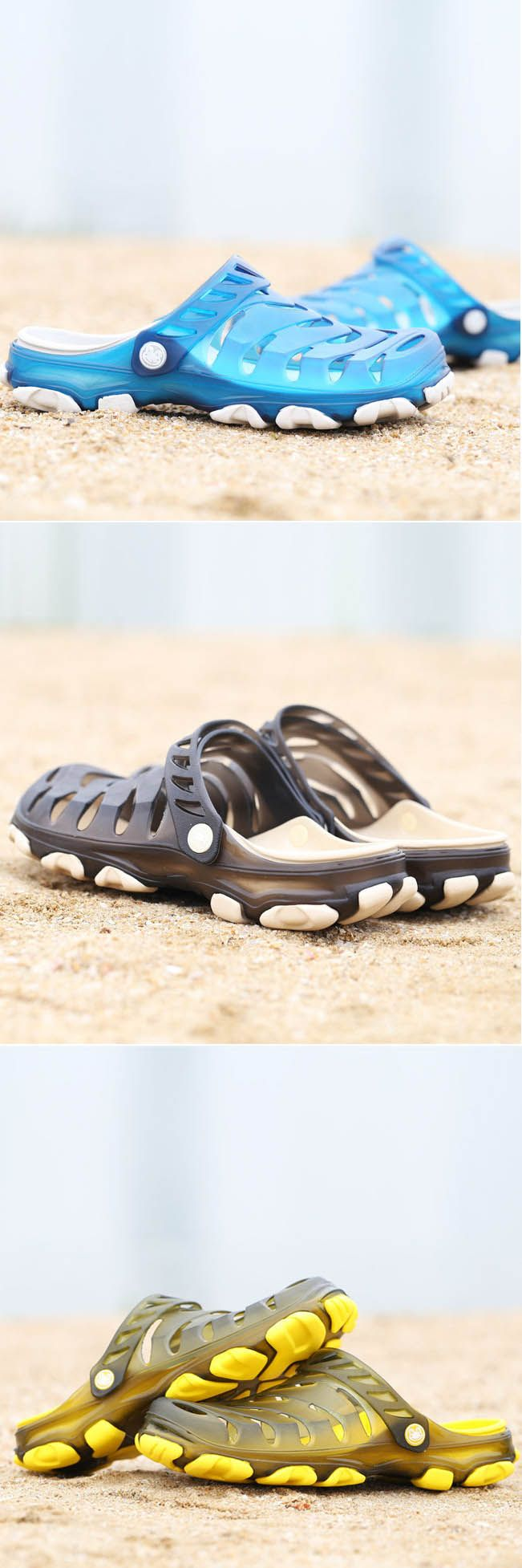 Men Hole Breathable Soft Beach Sandals Light Waterproof Shoes