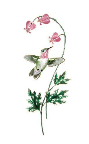 """Bovano Enamel Wall Art Calliope Hummingbird Bleeding Heart Flower by Bovano. $120.00. Calliope Hummingbird with Flower  This beautiful piece would add style to any home.  This piece is of a Calliope hummingbird with pink Bleeding Heart flowers.  This piece was designed as wall art.  This piece was designed by skilled artisans in Cheshire, Connecticut using vitreous enamel (glass) fused to copper in kilns at 1600 degress.  This item is 6""""w x 11""""h."""