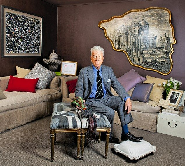 My haven: Nicky Haslam the society interior designer, 73, in his pied-à-terre in London's South Kensington