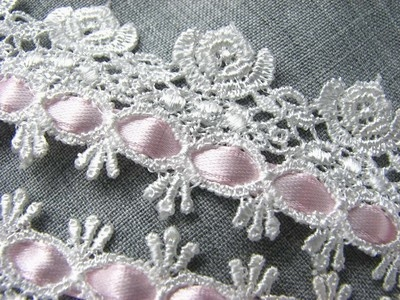 """Chic Beading Venise Trim~Rose~PINK~ 3y~ crazy quilt ~Victorian ~Pillow~Lampshade on EBay from """"thelacemama """""""
