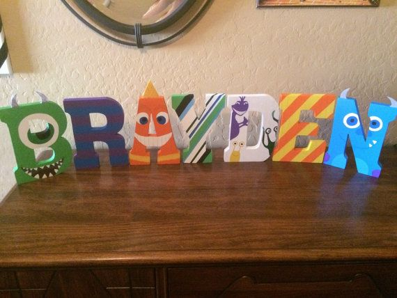 Monsters inc hand painted wooden letters/Hand by MyBusyBeeWreaths