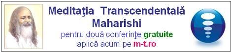 Meditatia Transcendentala Maharishi (MT), este cel mai bine cercetat program de dezvoltare umana ale carei efecte pozitive au fost validate de peste 600 de studii stiintifice.  Viziteaza http://www.m-t.ro pentru mai multe informatii, citeste Meditatia Transcendentala de Robert Roth - cea mai autorizata carte despre MT , free online la: https://sites.google.com/site/tmintro/curs  si inscrie-te online pentru doua conferinte introductive gratuite la http://www.m-t.ro/contacte.html
