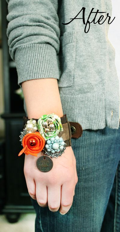 * Fabric and vintage jewelry leather cuff bracelet.