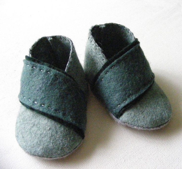 Heathered Green Felt Baby Boy Booties Cross by ShesSoCraftyGoods1
