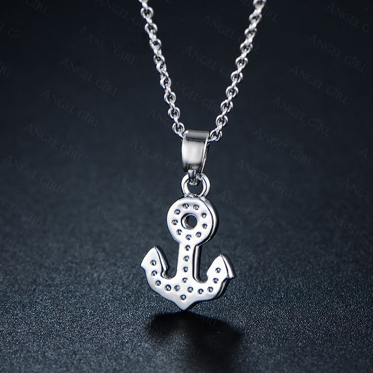 + Angle Girl Anchor Chains Pendant Clavicle Necklace for Women White Gold Plated fashion flash drilling Jewelry gift N10-60727