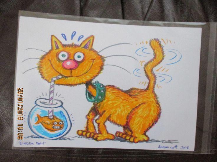 "Original Hand Drawn ""GINGER TOM"" by Beano Dandy comic Artist Duncan Scott"