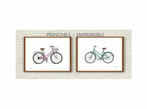 2 ilustraciones, lamina bicicleta, bici rosa, bici menta, cuadros bicicletas, bicicletas vintage, laminas imprimibles, laminas decorativas