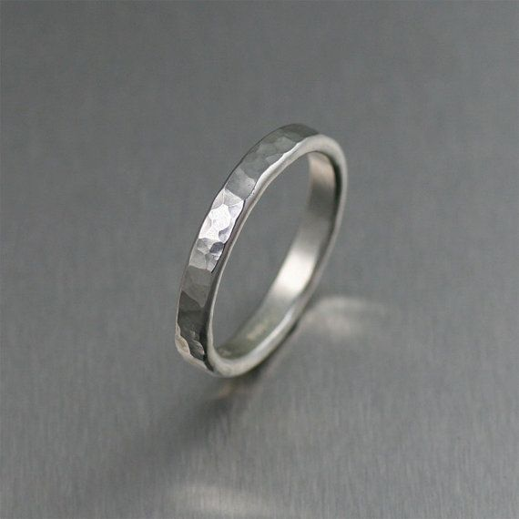 Perfect Hammered Stackable Sterling Silver Ring Unisex Band Rings Silver Stackable Band Rings A Great Wedding Band or Commitment Ring by johnsbrana