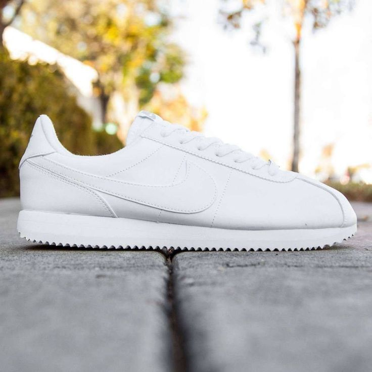 awesome NIKE CORTEZ BASIC LEATHER WHITE WOLF/METALLIC SILVER MEN'S CASUAL