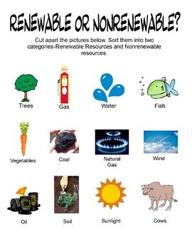 Sorting activity designed for students to cut apart labeled pictures of renewable and nonrenewable resources, and then sort them into two categorie...