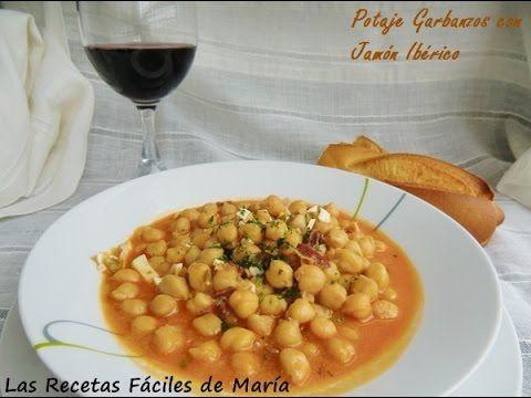 Potaje de Garbanzos con Jamón Ibérico | Las Recetas Fáciles de María | Recetas sencillas, para gente sencilla