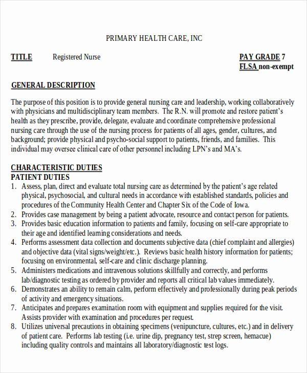 Nurse Job Description For Resume Beautiful 10 Sample Rn Resume Examples In Word Pdf In 2020 Nurse Job Description Job Description Resume Tips