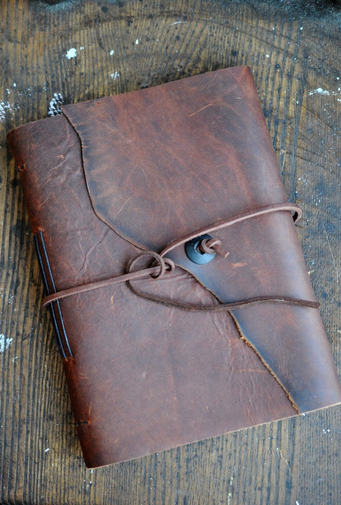 """Rich Burnished Leather Photo Album Diary Travel Journal  Guest Book 7"""" x 9 1/4"""". $60.00, via Etsy."""