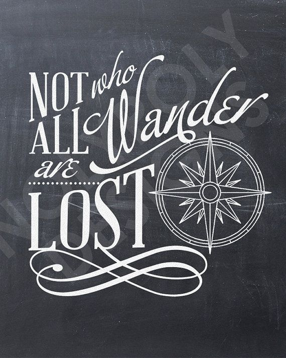 """Chalkboard """"Not All Who Wander Are Lost"""" typography nolypolydesigns"""