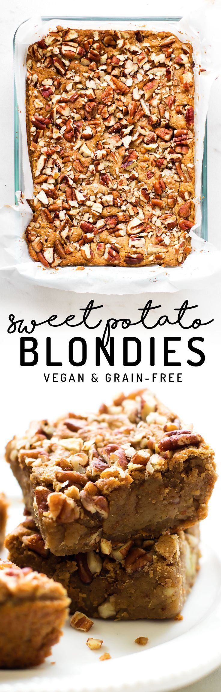 These chewy, cinnamon-spiced Sweet Potato Blondies make for a yummy snack or dessert that's gluten-free, oil-free, grain-free, and vegan!