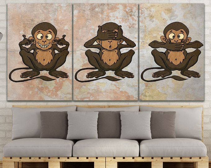 3 Monkeys Velvet Stickers Three Wise Monkeys Wall Decal See No