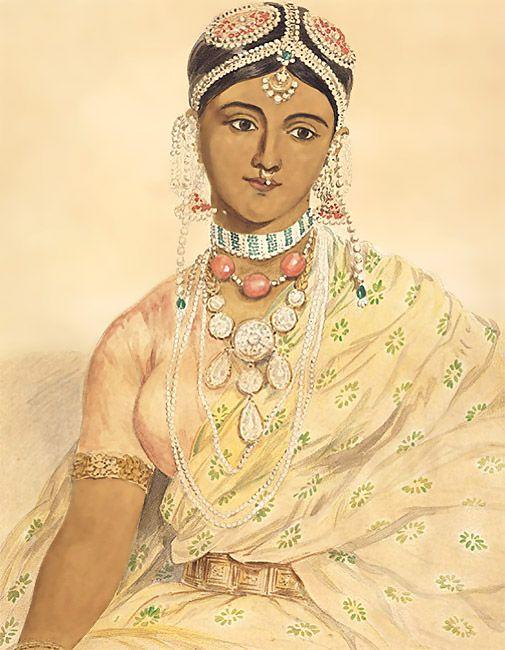 JOHN JOSEPH FONCECA  Portrait of a Hindu woman wearing jewellery, January 1872  V: 07386 (IS)