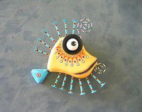Arte de pared de pescado, mojarra amarilla, escultura Original de la pared del objeto encontrado, talla de madera, la pared decoración, arte marino, Fig Jam Studio