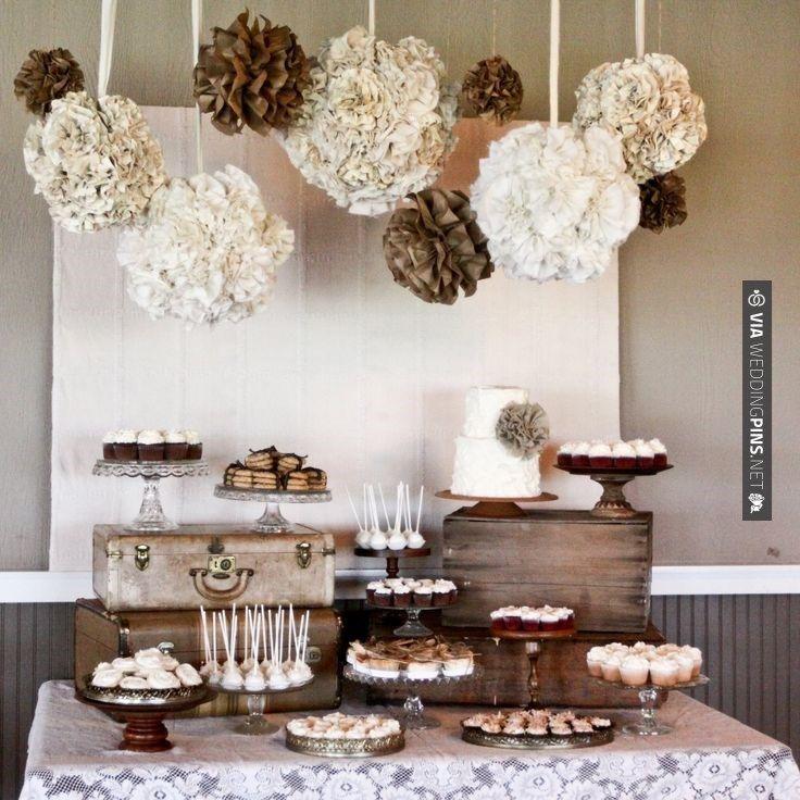 wedding shower candy buffet ideas%0A burlap lace wedding reception decor rustic elegant neutral tones dessert  table Styles  and Reception  Table  Wedding Ideas