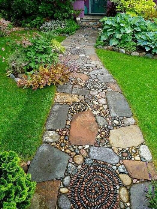 Pebble path with large and small stones