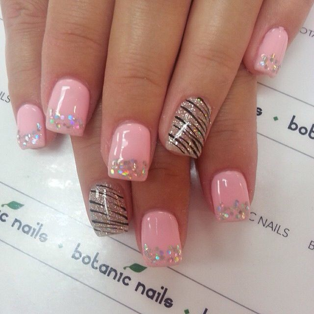 Pretty In Pink: Glitter tips with zig-zag accent  #♛ #NailTrends