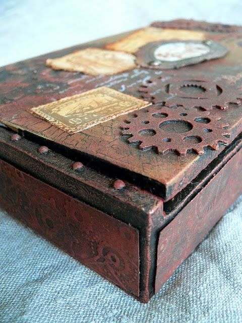Cigar Box Crafts Ideas   Von Pappe II: Altered Cigar Box Nr.3 (a tutorial)   Craft room ideas. Stream punk