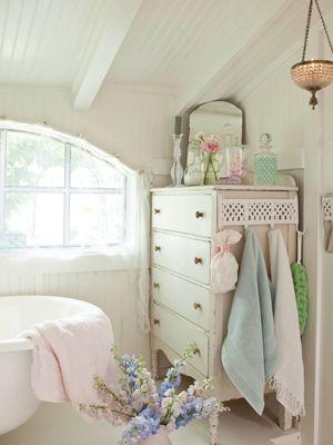 bathroomDecor, Bathroom Design, Ideas, Powder Room, Guest Bathroom, White Bathroom, Shabby Chic Bathroom, Chest Of Drawers, Design Bathroom