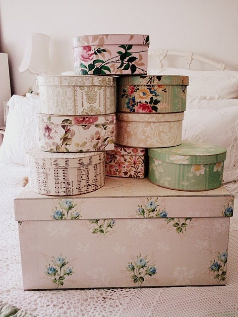 DIY decorate hat boxes using vintage wall paper - I used aged newspaper instead for a vintage look. Loved it.