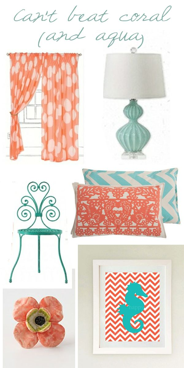 """Colour palate for Tia's room doing this color combo for my room, accent wall being coral, other 3 walls are beige. Curtains and comforter will be more of a """"Tiffany Blue"""" color <3"""