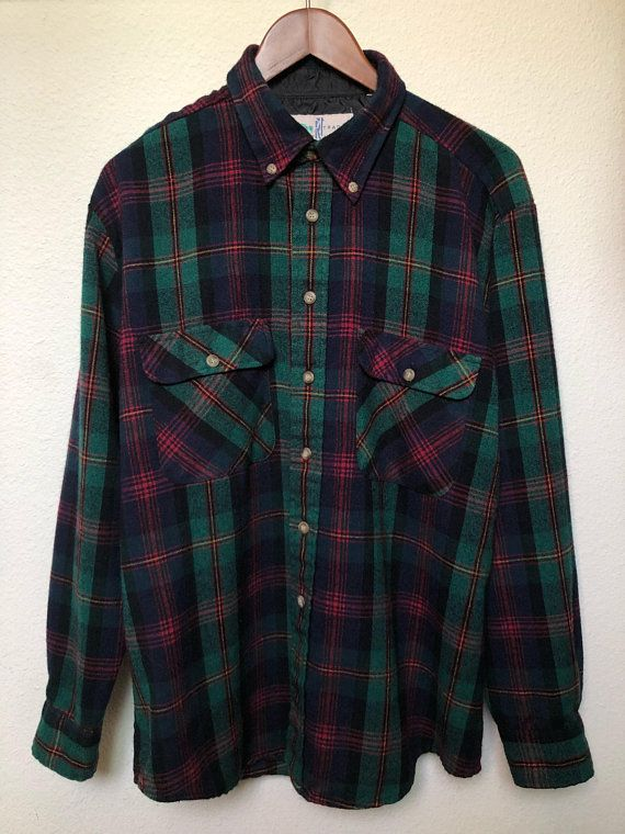 Mens Shirts Casual Cotton Long Sleeve Plaid Flannel Green Check Smart Work shirt
