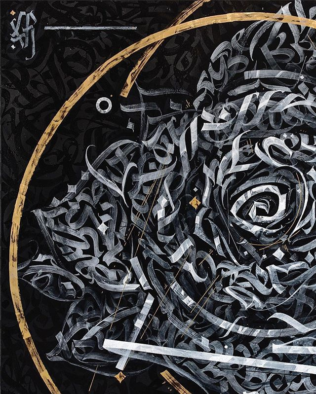 15. G H Ø S T F Ł Õ W E R Ghost Flower. Based on the rose image, this artwork dedicated to my artistic perspective on using calligraphy as an image. Modern latin calligraphy in self-developed calligrafuturism style. Acrylic paint, glossy black & gold paint on canvas. Mixed tech. 120 х 120 cm. 2016. Represented by @operagallery Dubai