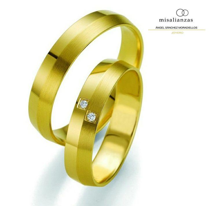 #Alianzas oro amarillo 18 quilates, con textura mate #complementos #boda #anillos #misalianzas.com