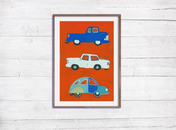 Blue Cars Retro Print