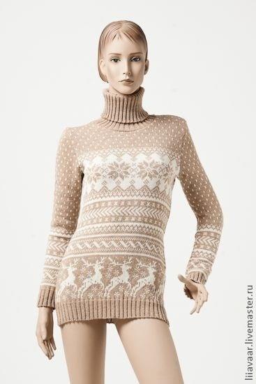 Женские зимние кофты и свитера с новогодними узорами