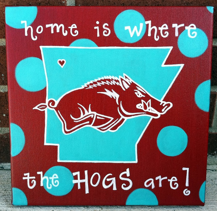 Arkansas Razorback Canvas Home is where the HOGS by ruelledesigns