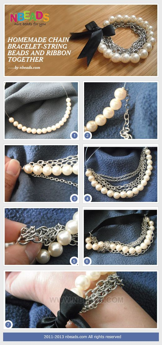 homemade chain bracelet-string beads and ribbon together