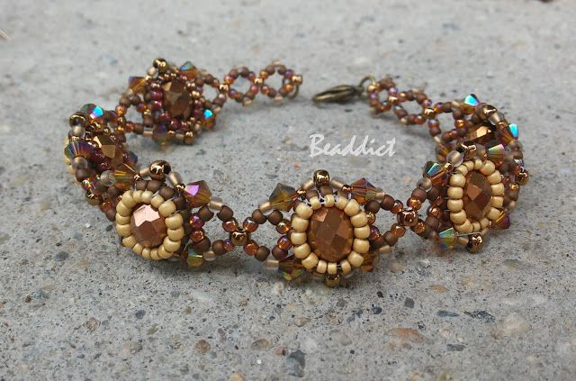 """""""Rococo"""" bracelet. Designed and beaded by Beaddict. Donut, seed beads, bicones."""