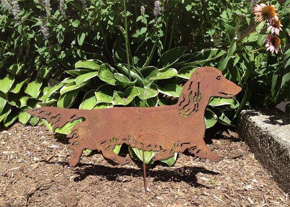 Langharige teckel tuin inzet of muur opknoping / metaal hond / Memorial