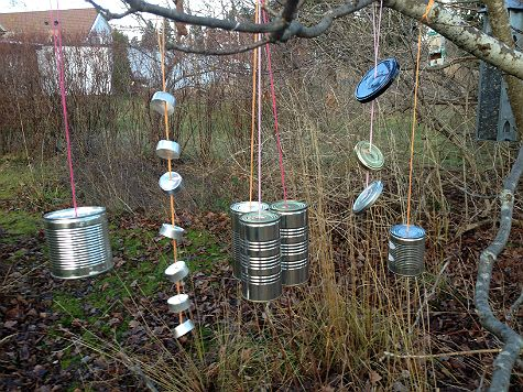 Make a fun outdoor orchestra from old recycling.