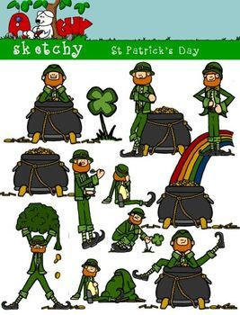 Leprechaun clip art! Color, black lined, and grayscale!
