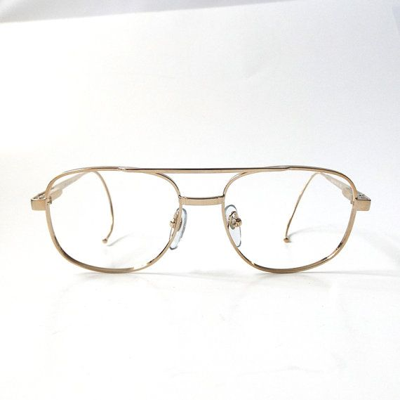 vintage 1980's NOS eyeglasses square gold by RecycleBuyVintage