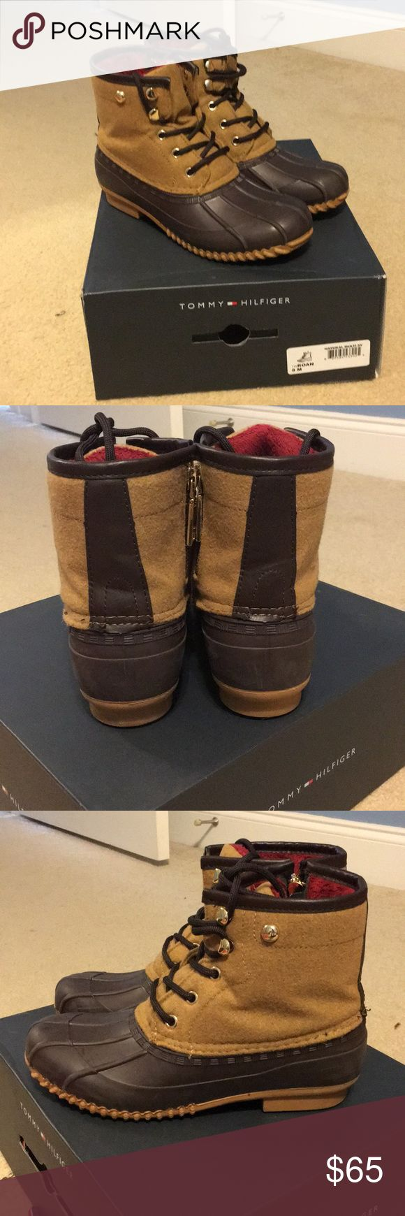 Tommy Hilfiger duck boots These are perfect for the rain or snow! Basically New without tags only been worn a couple times! These are sold out multiple places! Cleaning out my closet and I don't wear these often, comes in the original box! Tommy Hilfiger Shoes Winter & Rain Boots