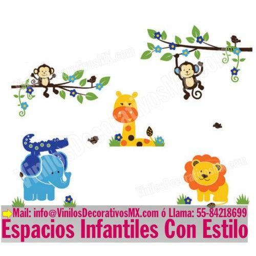 vinilos decorativos infantiles de changuitos ramas con changuitos elefante cocodrilo jirafa y
