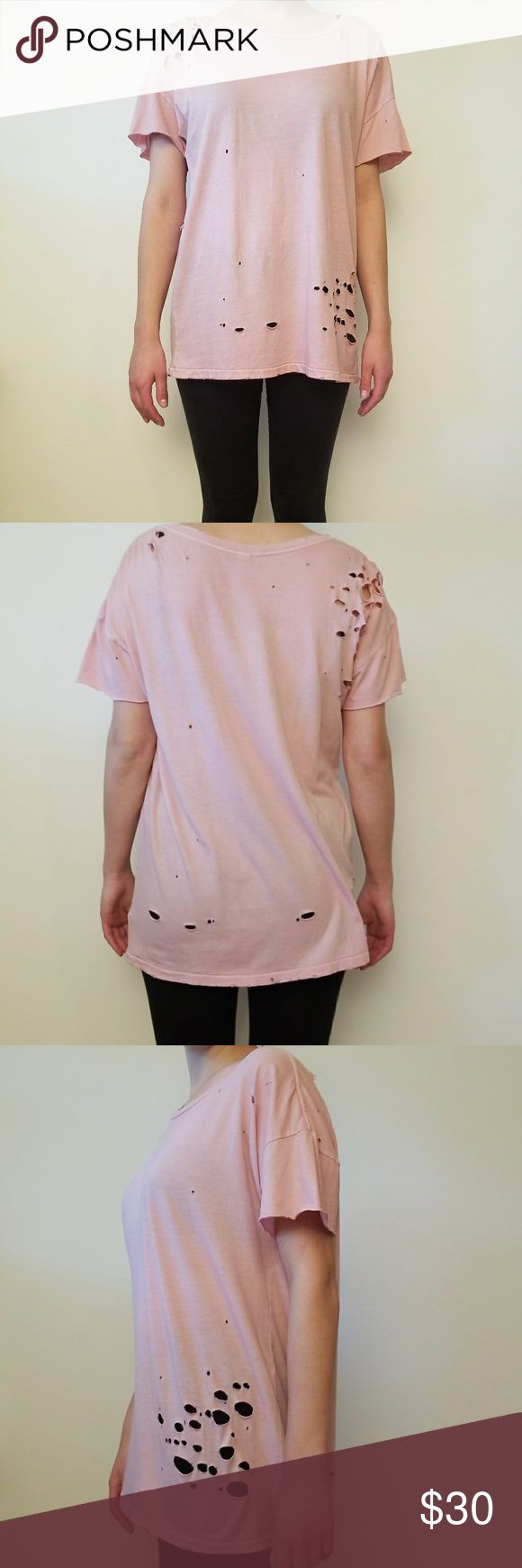 Alternative Apparel Rose Quartz T-shirt with Holes Alternative Apparel Rose Quartz Pigment T-shirt with Holes.    NEVER BEEN WORN NWT   Size: L   Color: Rose Quartz Pigment   Adorable with leggings and converse or high tops.  Also goes great with jeans and boots for fall! Alternative Apparel Tops