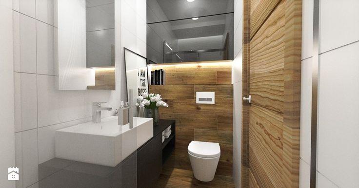 BIAŁO-CZARNA ŁAZIENKA - Mała łazienka w bloku bez okna, styl nowoczesny - zdjęcie od KINGA KIRKICKA Architektura Wnętrz