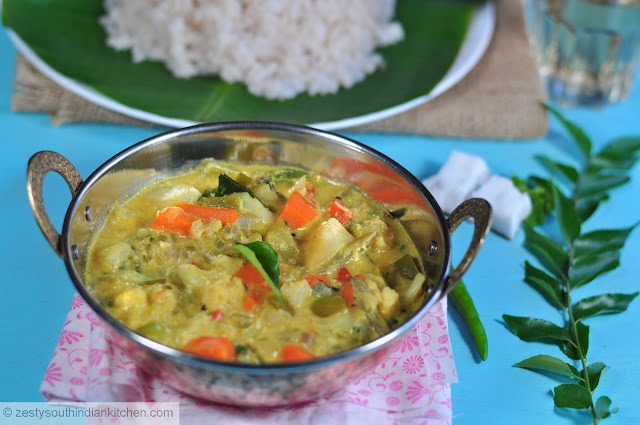 Mixed vegetable stew cooked with mildly spiced coconut milk. Yumm goes ...