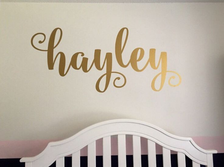 Name Wall Decal Personalized Name Decor Girls Nursery Decal Rustic Cottage Style Name Decal Girls Bedroom Decor Gold Copper Name Lettering by CustomVinylbyBridge on Etsy https://www.etsy.com/listing/386553520/name-wall-decal-personalized-name-decor