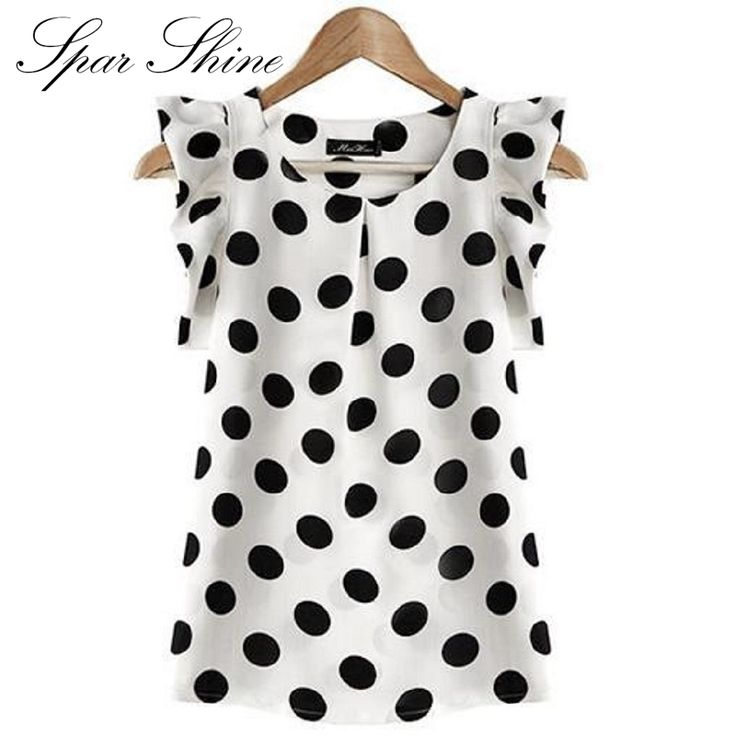 2016 summer style women blouse tops polka dot ruffled pleated chiffon short-sleeve shirt female plus size chiffon blusa feminina